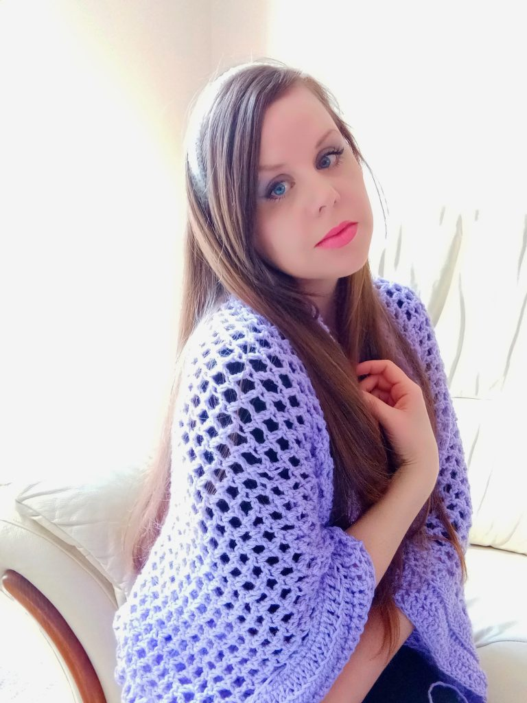 Crochet Beautiful Lilac Cardigan with Ribbed Edging