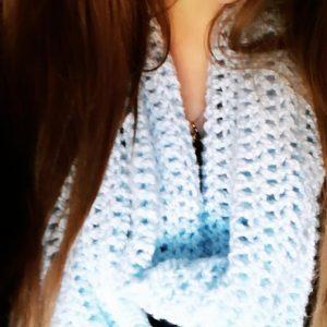 Crochet Something Blue Infinity Scarf