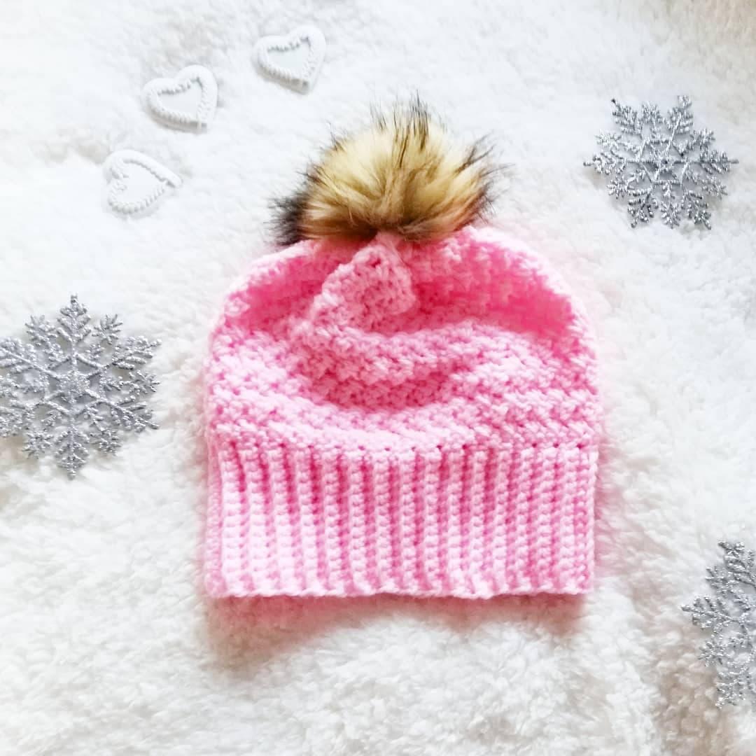Crochet Heart of Me Pompom Hat