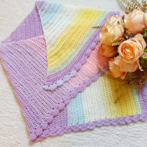 Crochet Asymmetrical Rainbow Shawl