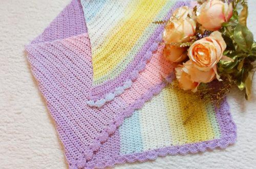 Crochet Asymmetrical Rainbow Shawl