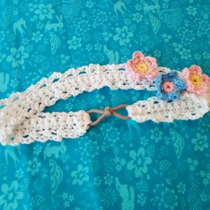 Crochet Romantic Headband with Flowers