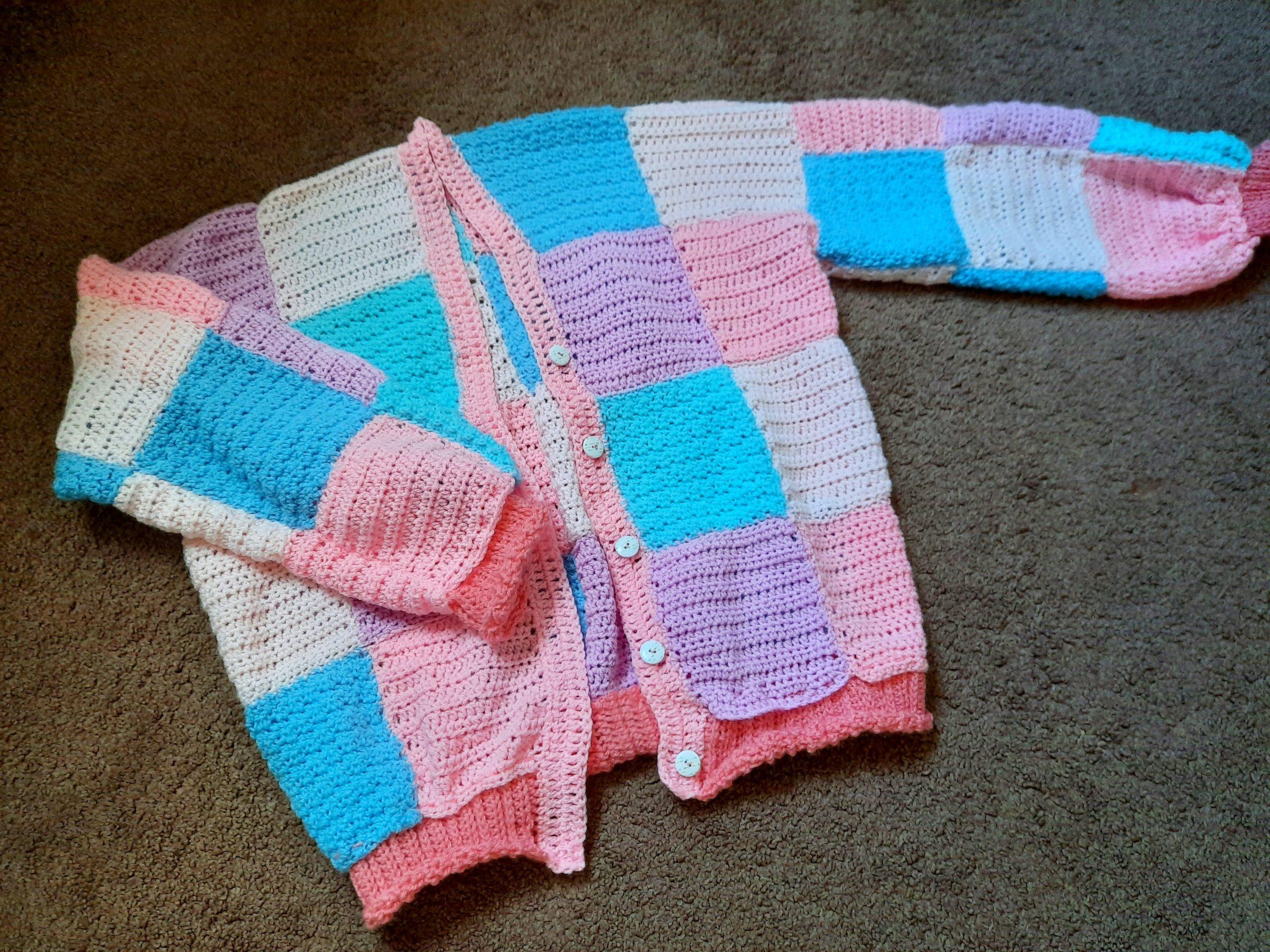 Crochet JW Anderson Inspired Pastel Patchwork Cardigan