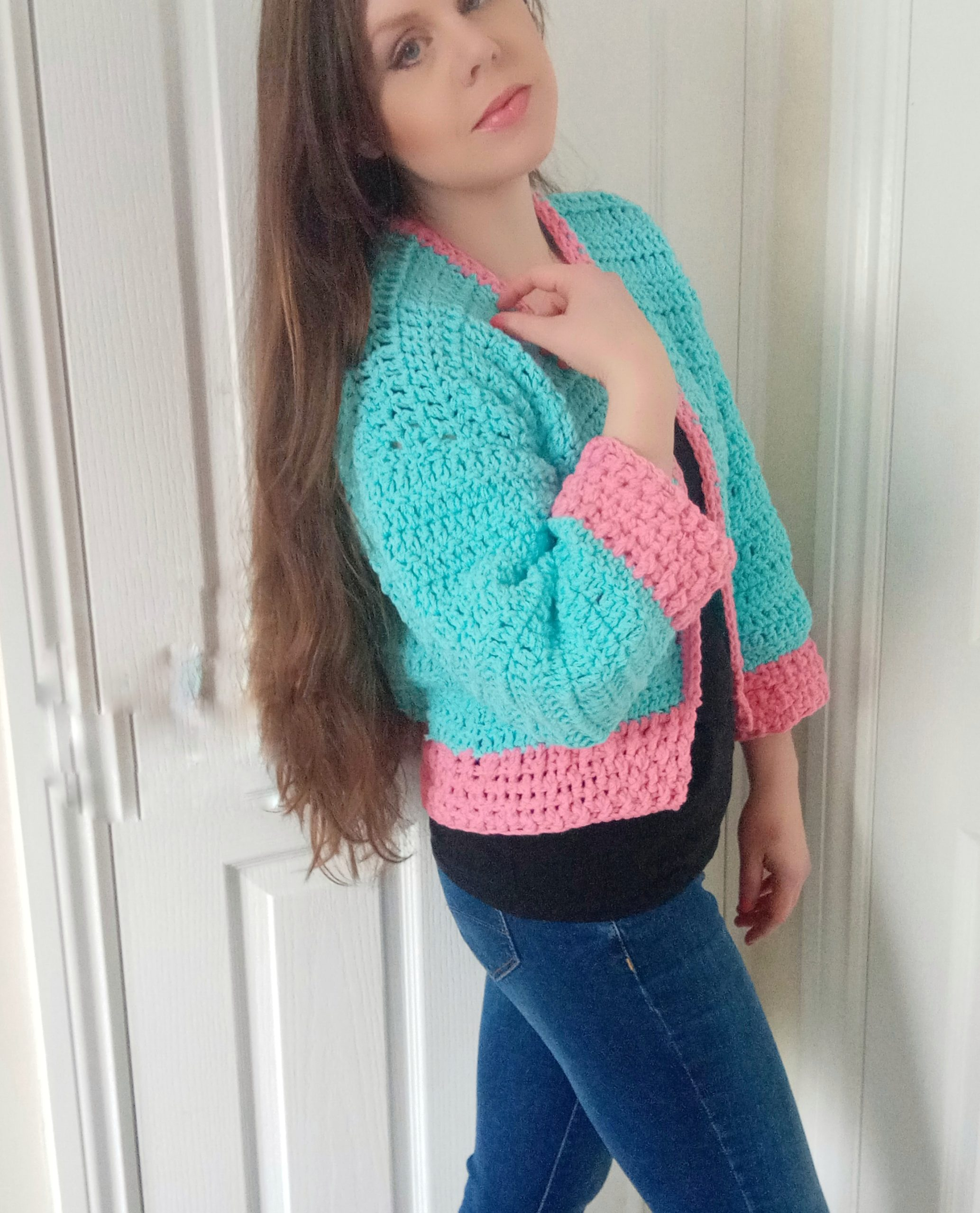 Crochet feminine coat