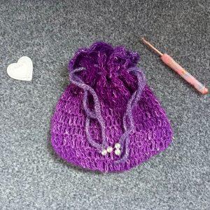 Crochet Victorian Drawstring Purse